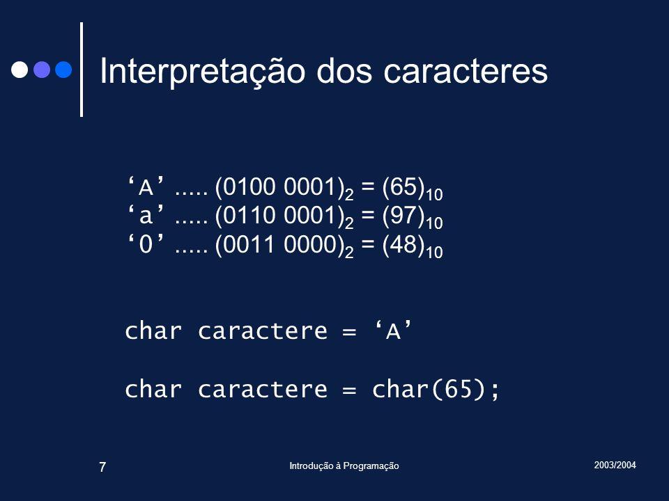 Interpretação dos caracteres