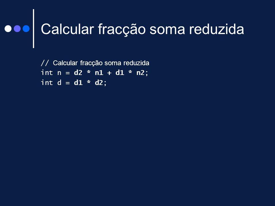 Calcular fracção soma reduzida