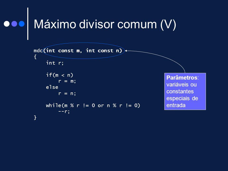 Máximo divisor comum (V)