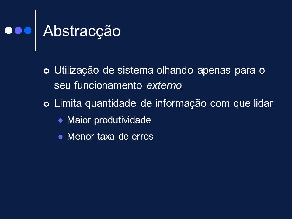 Abstracção Utilização de sistema olhando apenas para o seu funcionamento externo. Limita quantidade de informação com que lidar.