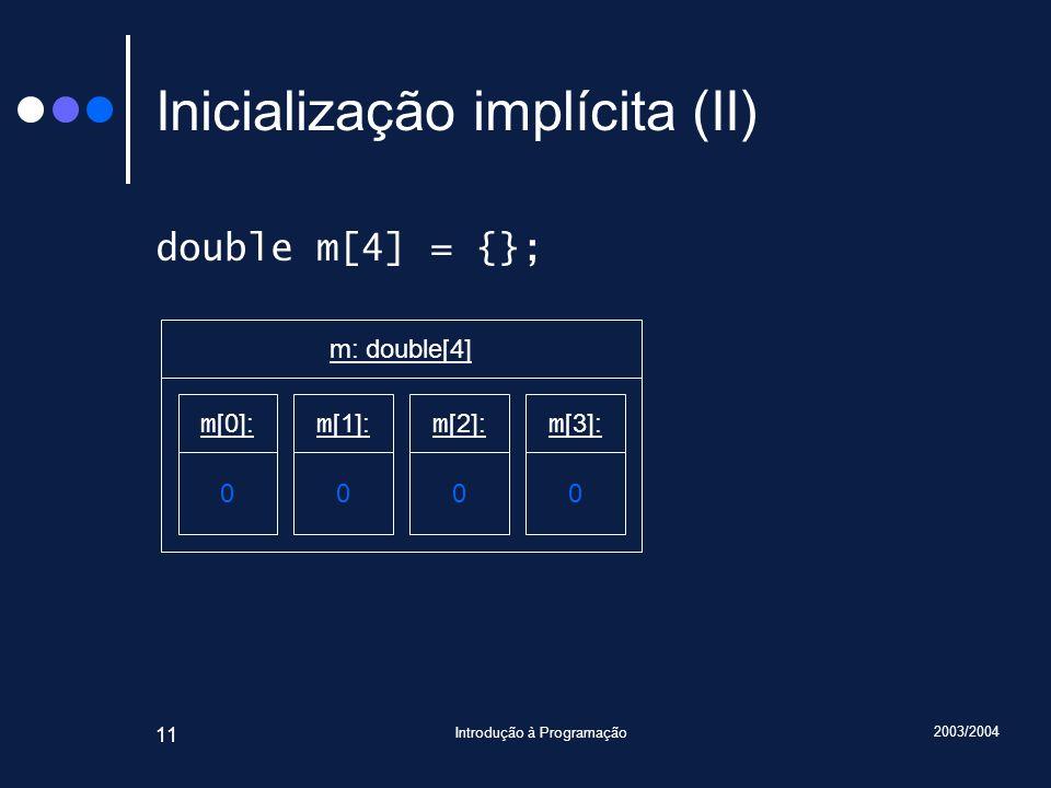 Inicialização implícita (II)