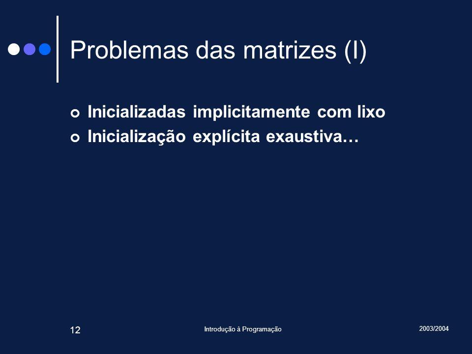 Problemas das matrizes (I)
