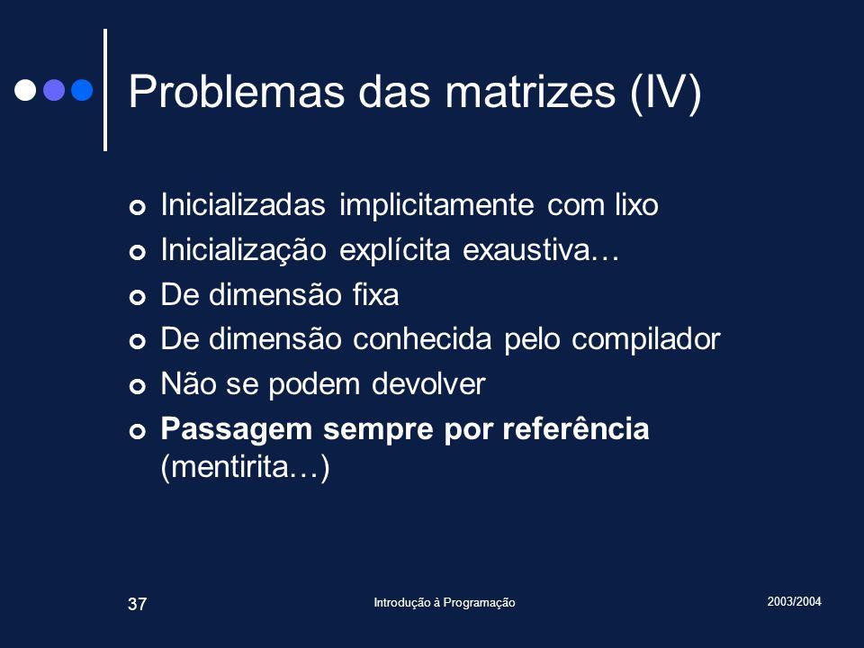 Problemas das matrizes (IV)