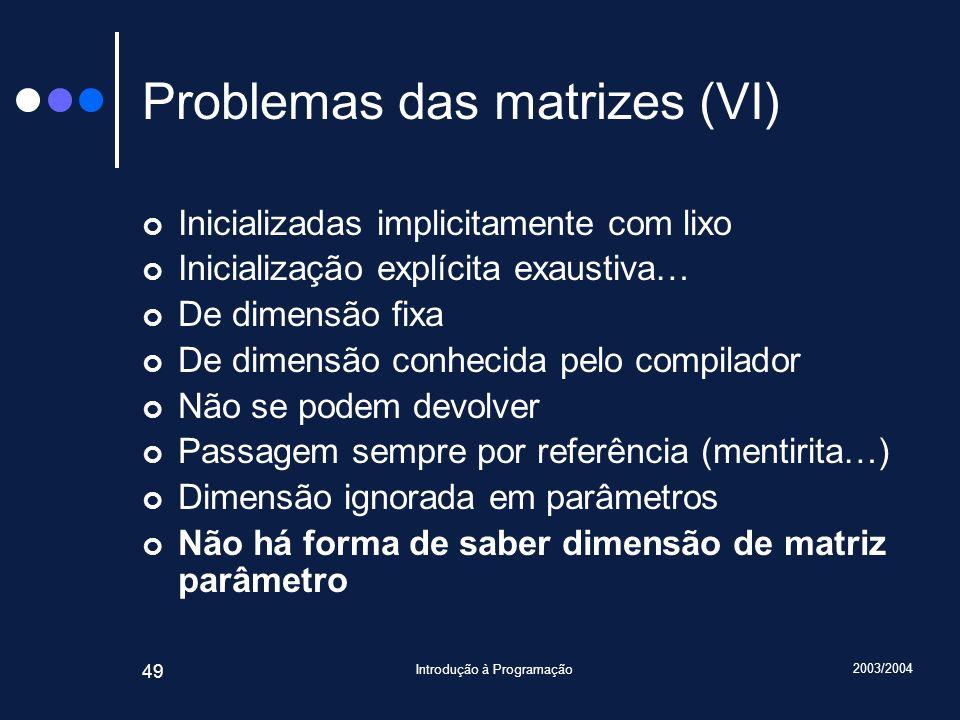 Problemas das matrizes (VI)