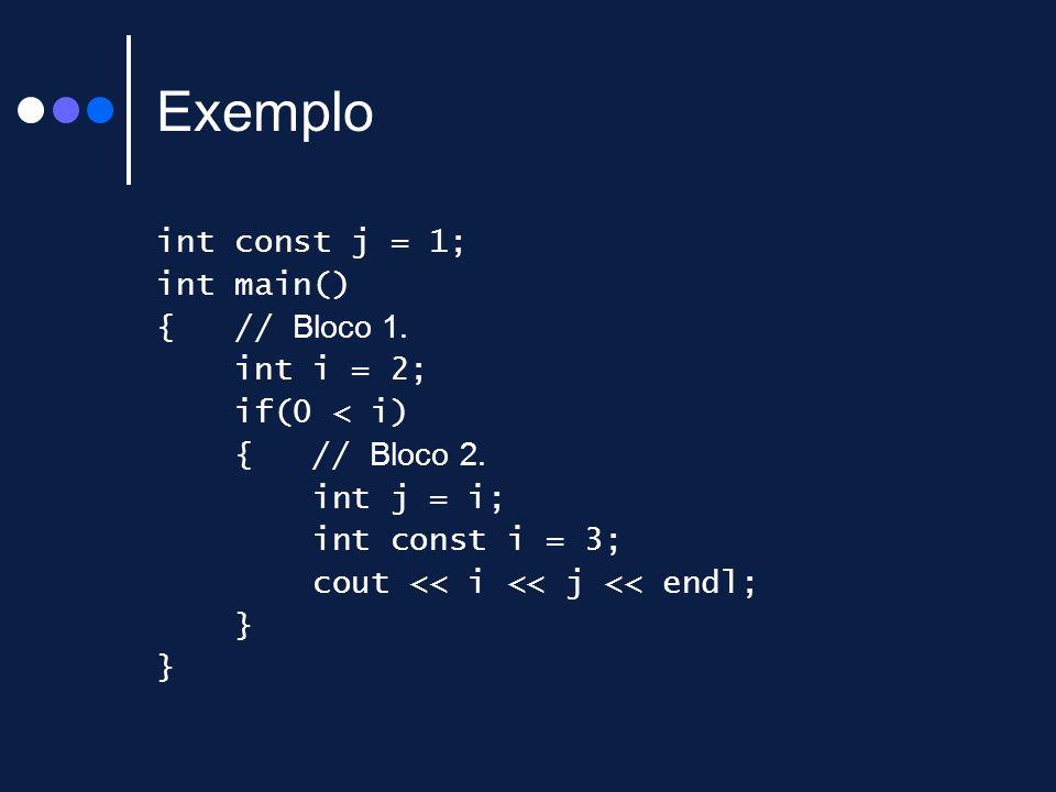 Exemplo int const j = 1; int main() { // Bloco 1. int i = 2;