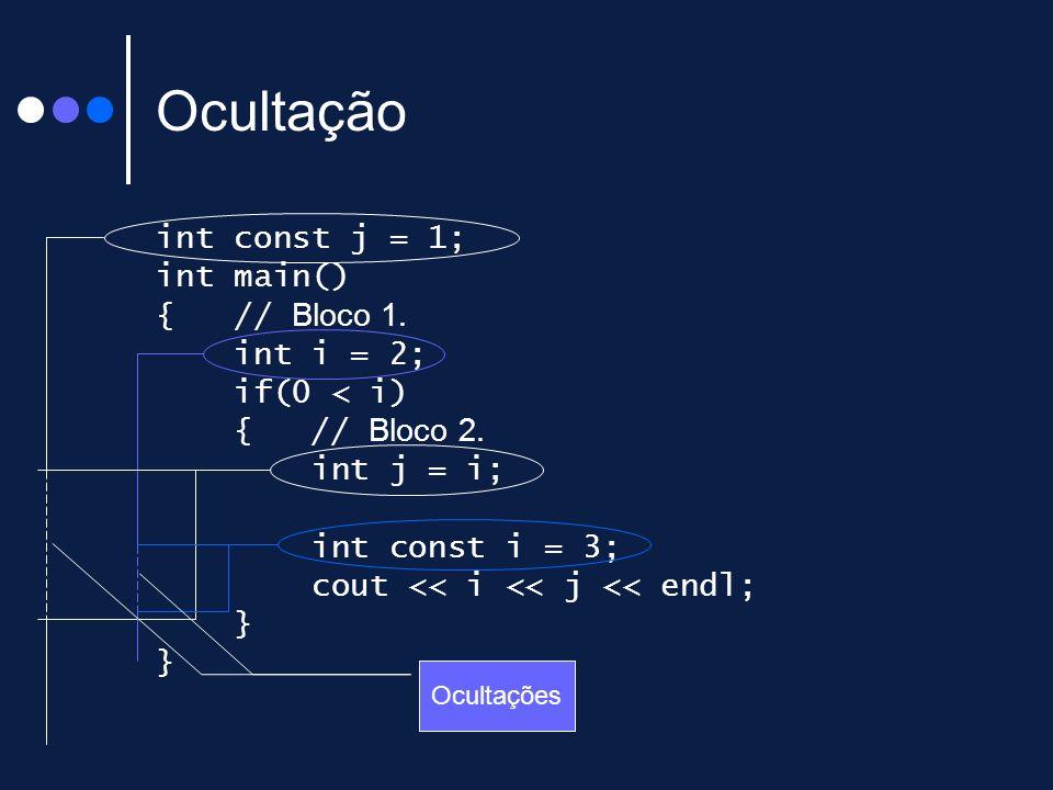 Ocultação int const j = 1; int main() { // Bloco 1. int i = 2;