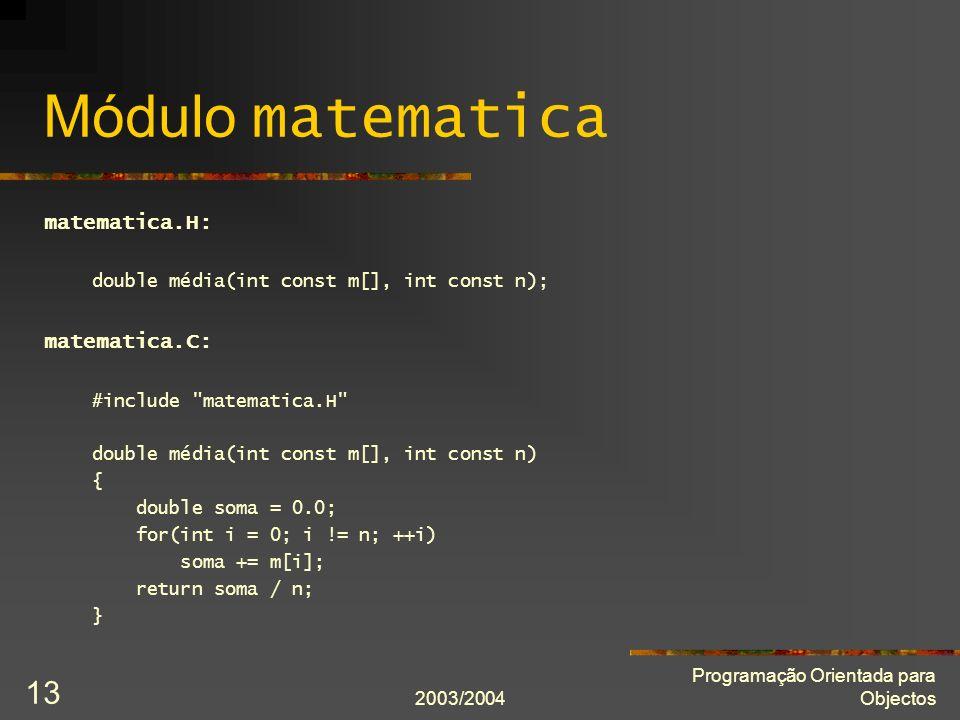 Módulo matematica matematica.H: matematica.C: