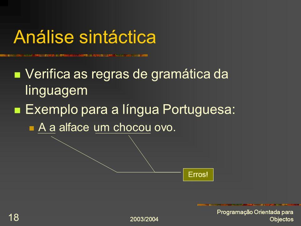 Análise sintáctica Verifica as regras de gramática da linguagem