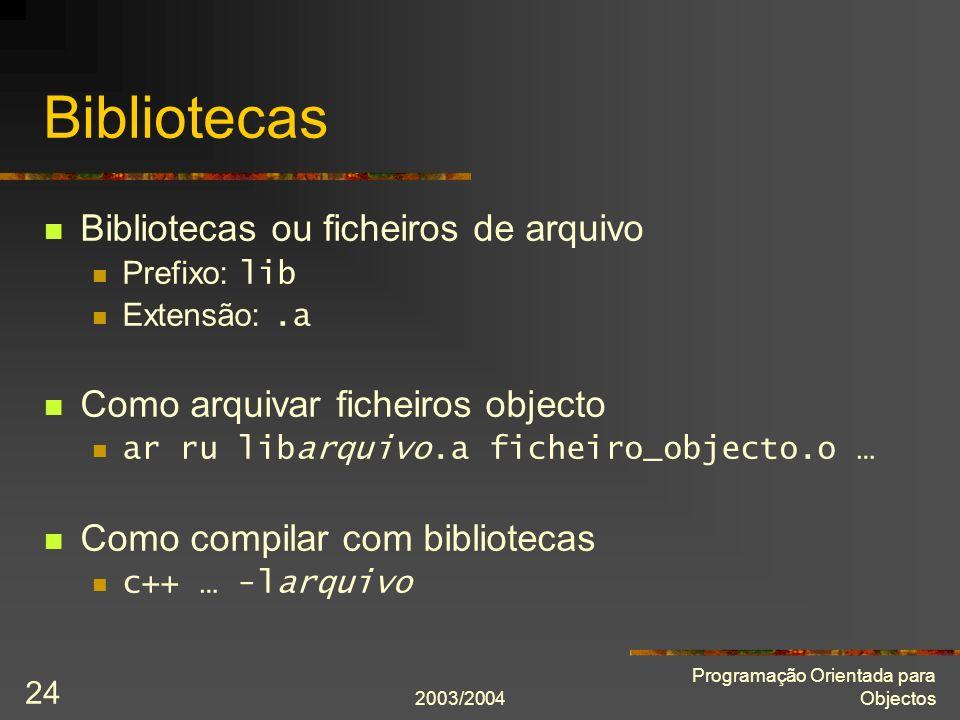 Bibliotecas Bibliotecas ou ficheiros de arquivo