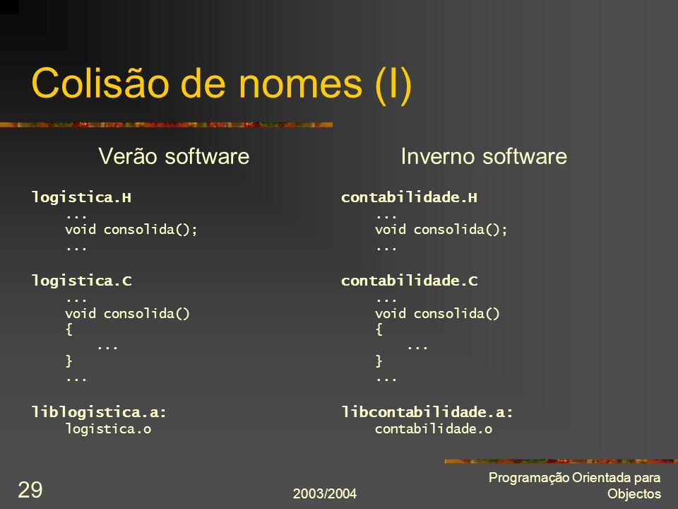 Colisão de nomes (I) Verão software Inverno software logistica.H