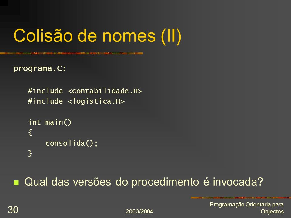 Colisão de nomes (II) Qual das versões do procedimento é invocada