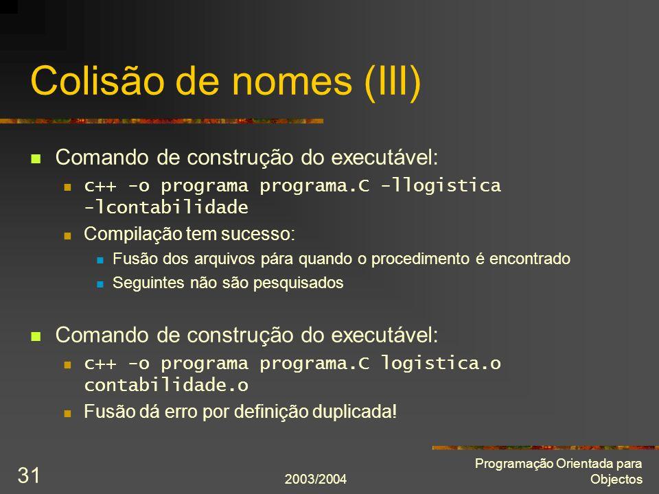 Colisão de nomes (III) Comando de construção do executável: