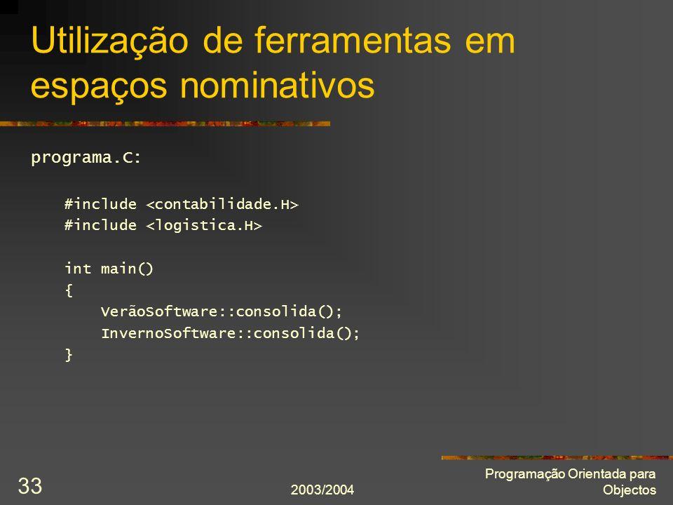 Utilização de ferramentas em espaços nominativos