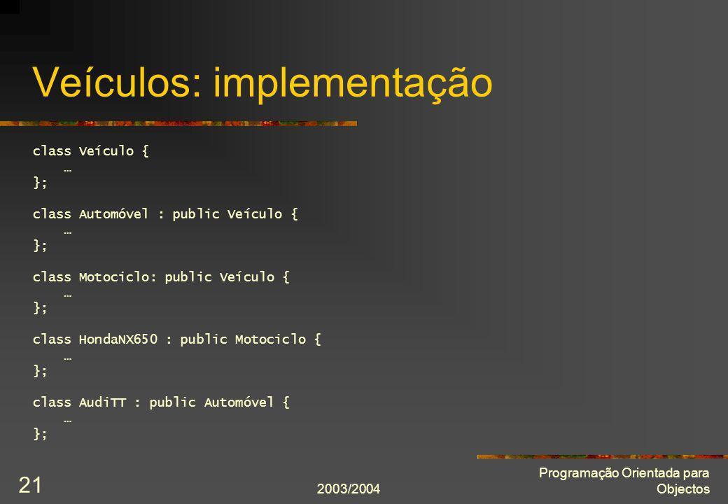 Veículos: implementação