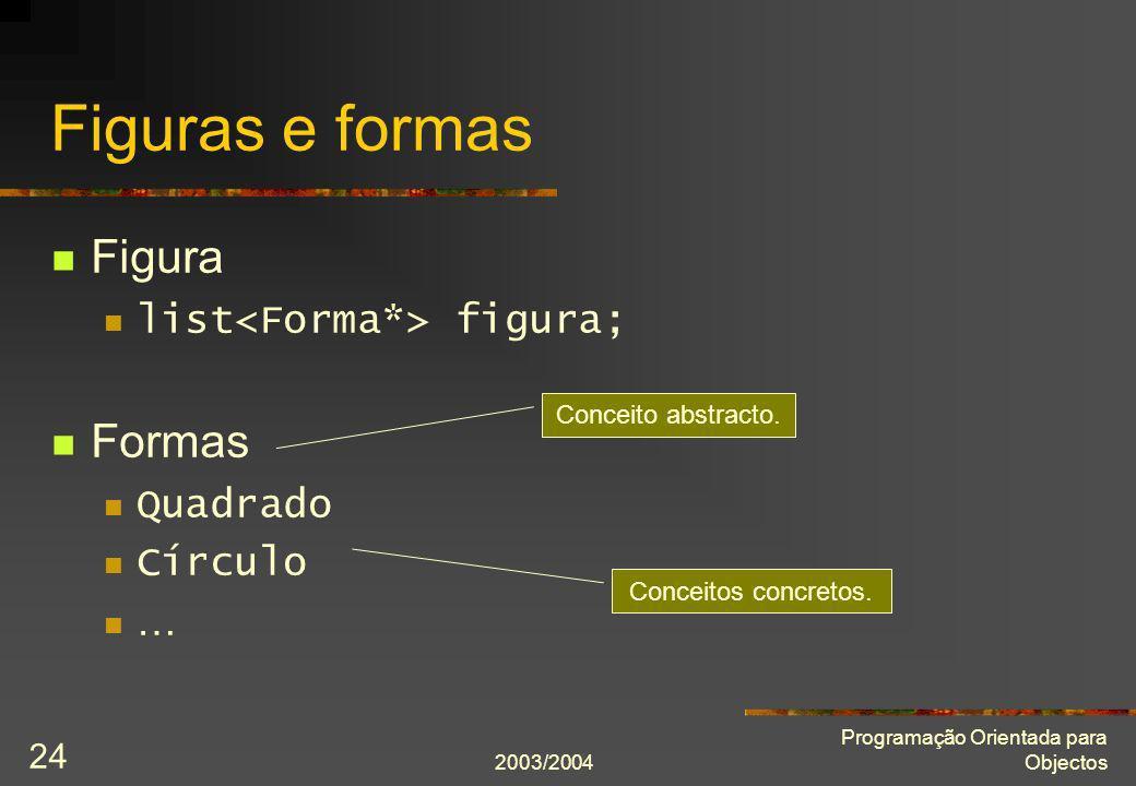 Figuras e formas Figura Formas list<Forma*> figura; Quadrado