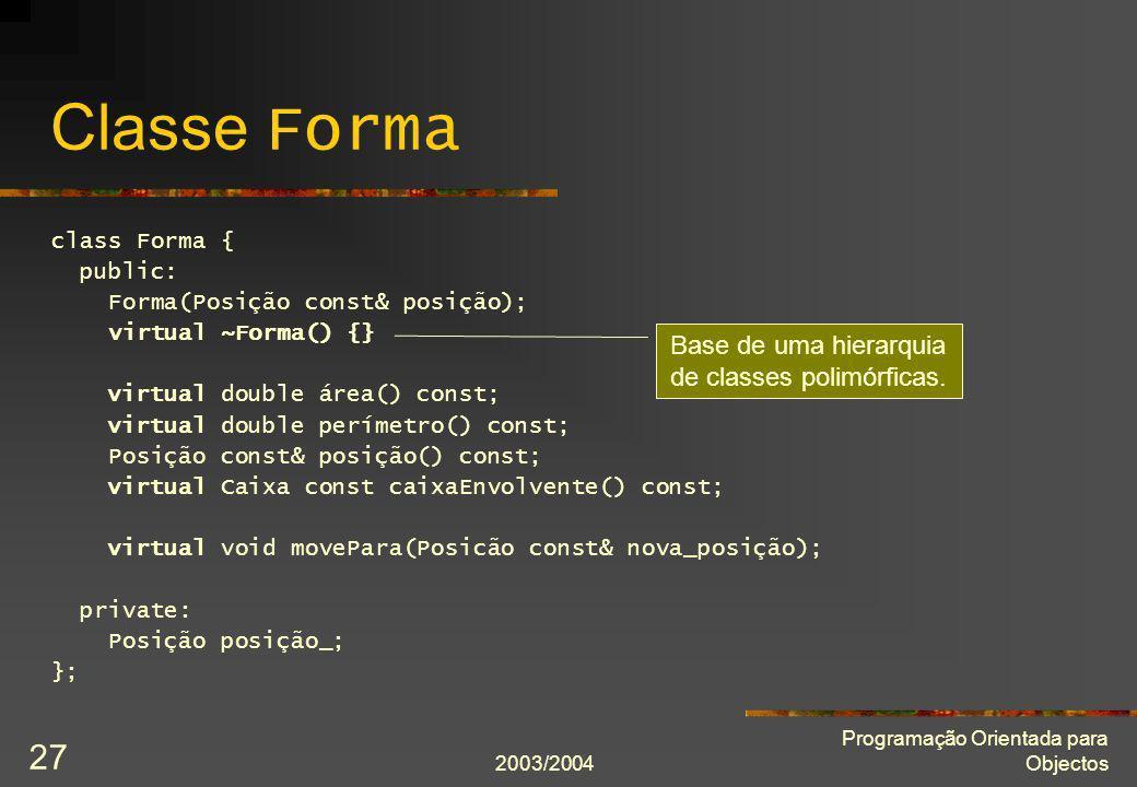 Classe Forma Base de uma hierarquia de classes polimórficas.