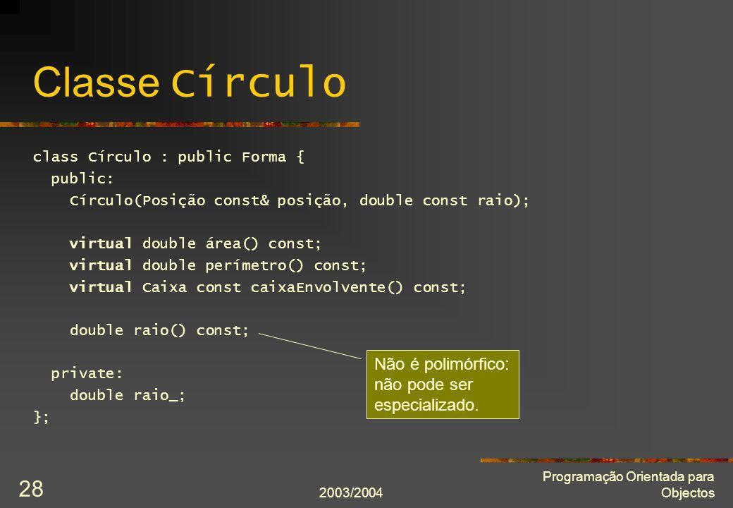 Classe Círculo Não é polimórfico: não pode ser especializado.