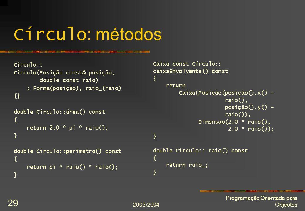 Círculo: métodos Círculo:: Circulo(Posição const& posição,