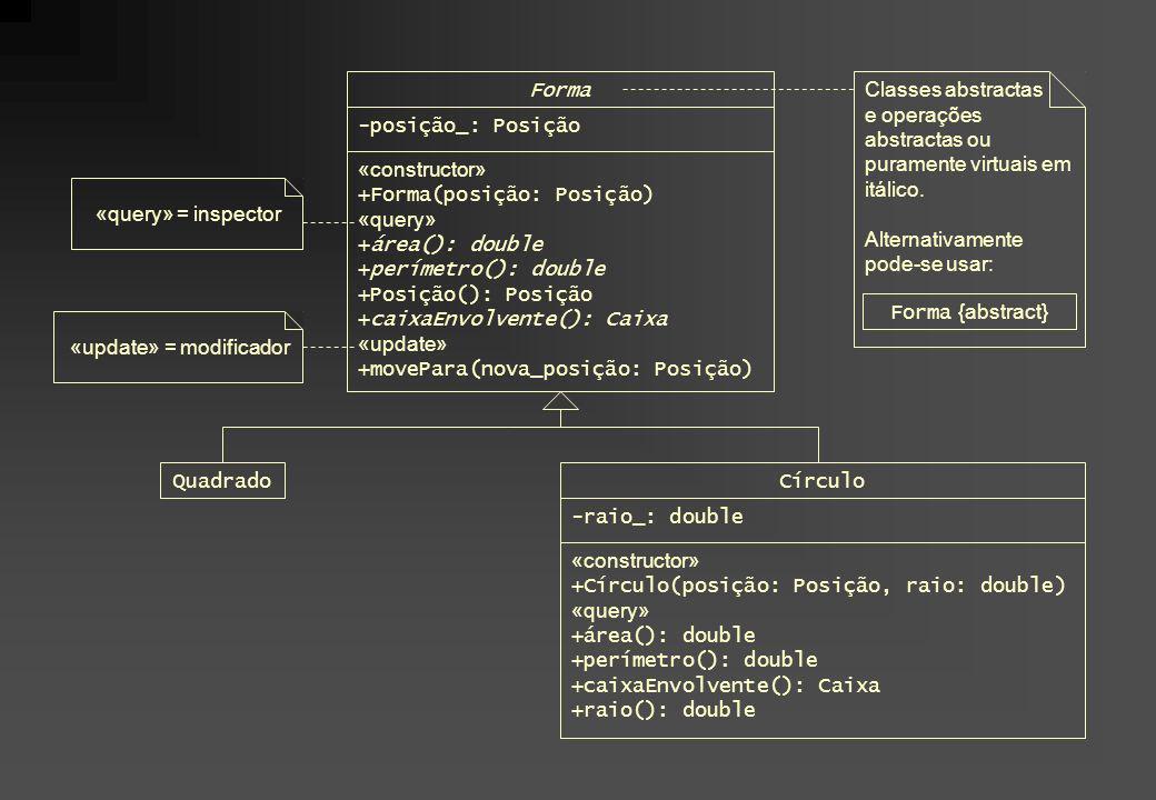 Forma Classes abstractas. e operações abstractas ou puramente virtuais em itálico. Alternativamente pode-se usar: