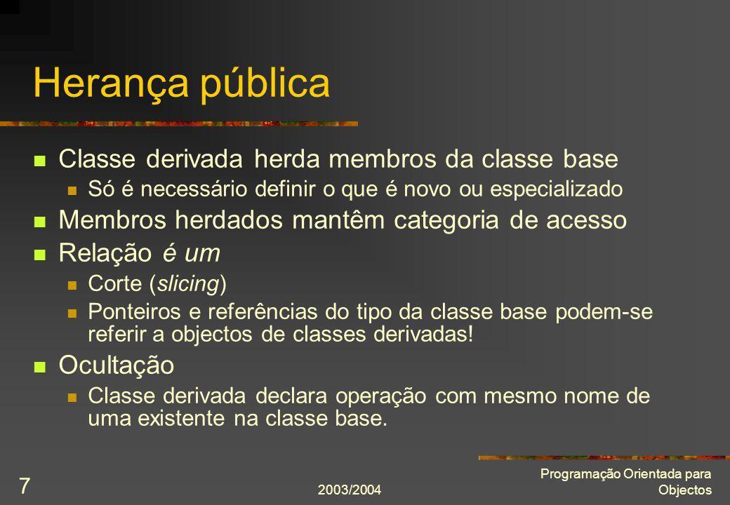 Herança pública Classe derivada herda membros da classe base