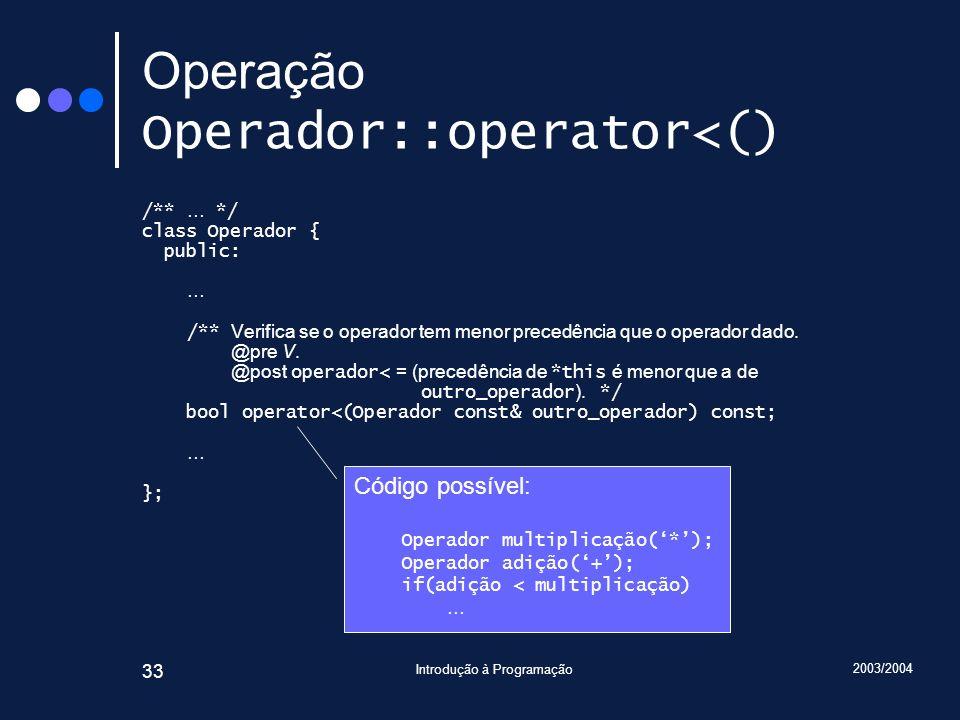 Operação Operador::operator<()