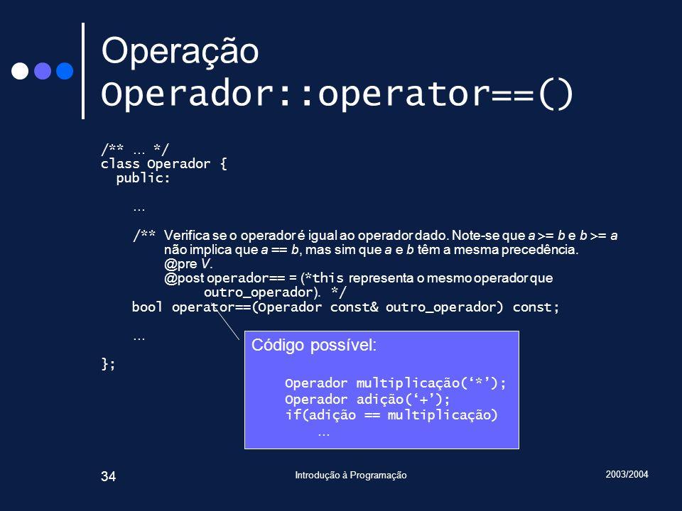 Operação Operador::operator==()