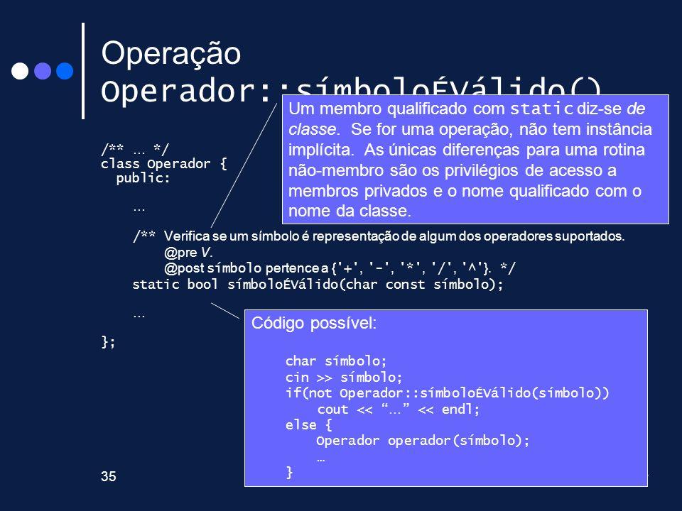 Operação Operador::símboloÉVálido()