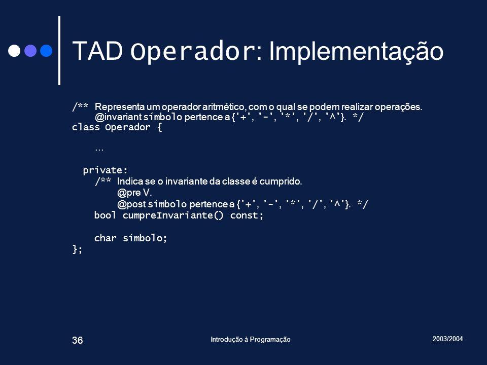 TAD Operador: Implementação