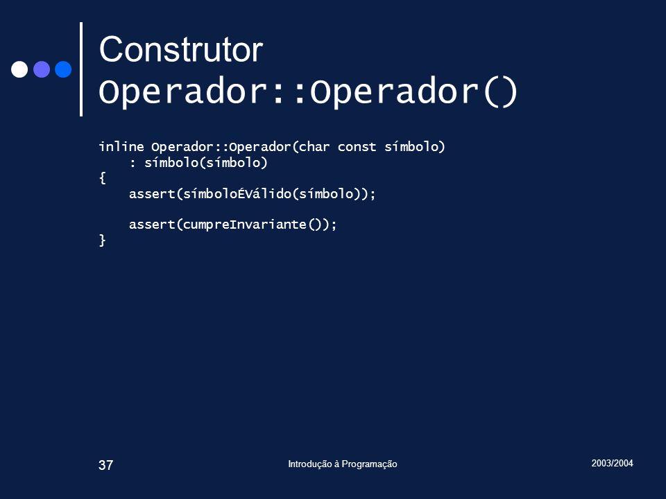 Construtor Operador::Operador()