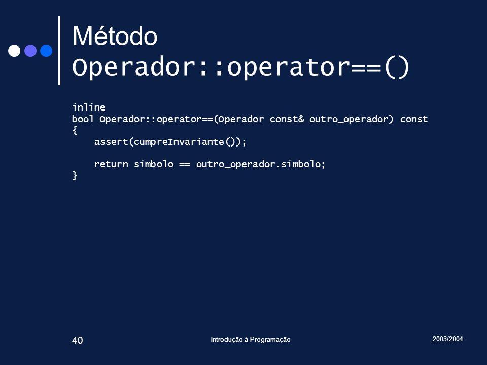Método Operador::operator==()