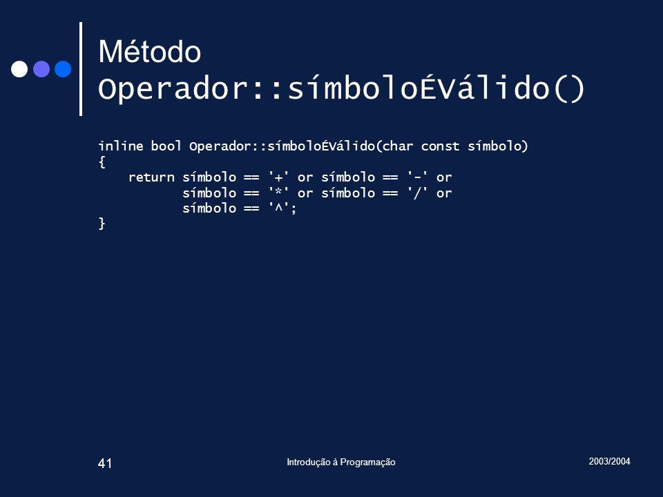 Método Operador::símboloÉVálido()