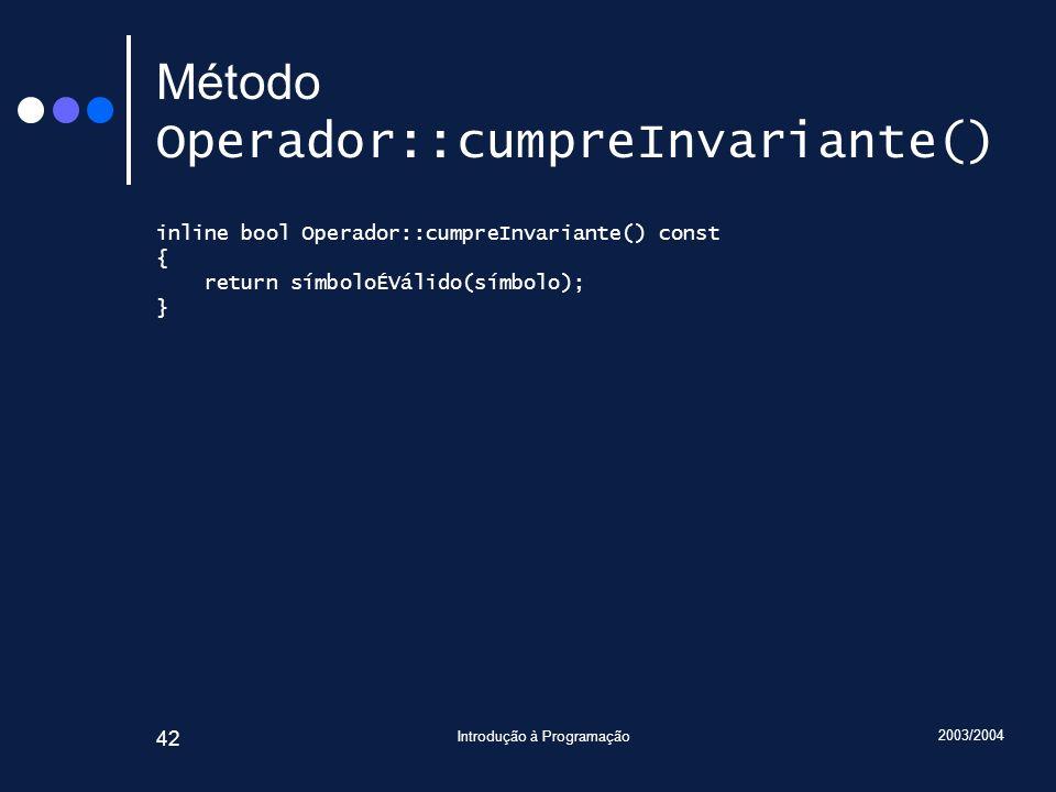 Método Operador::cumpreInvariante()