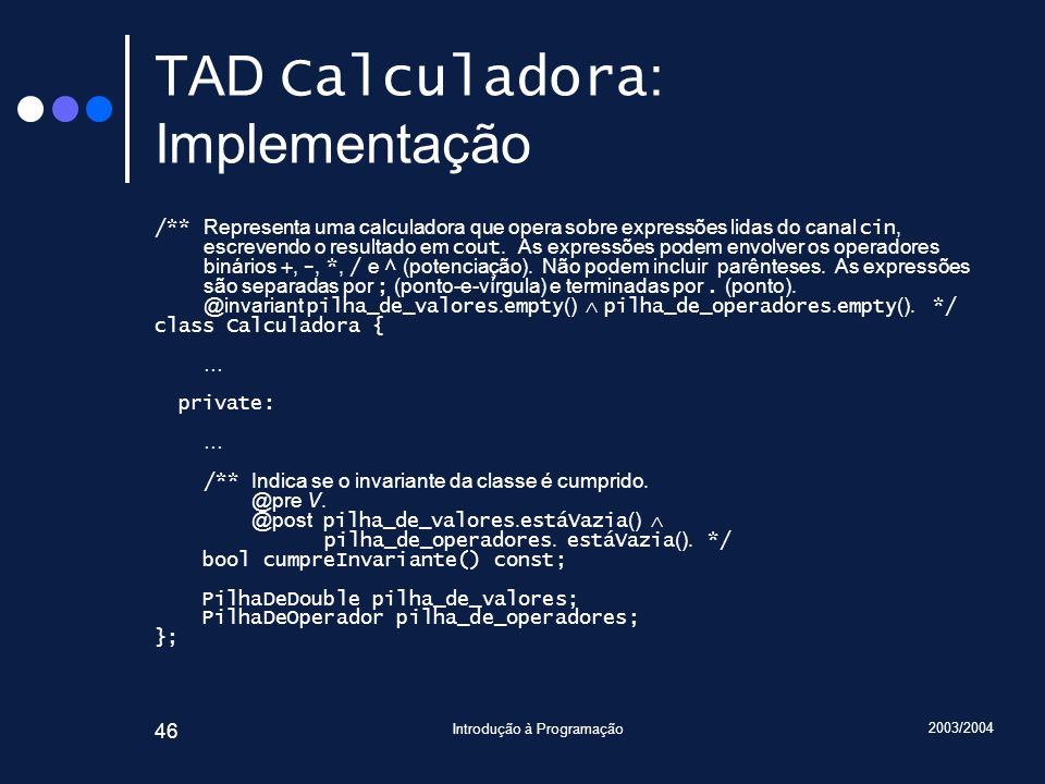 TAD Calculadora: Implementação