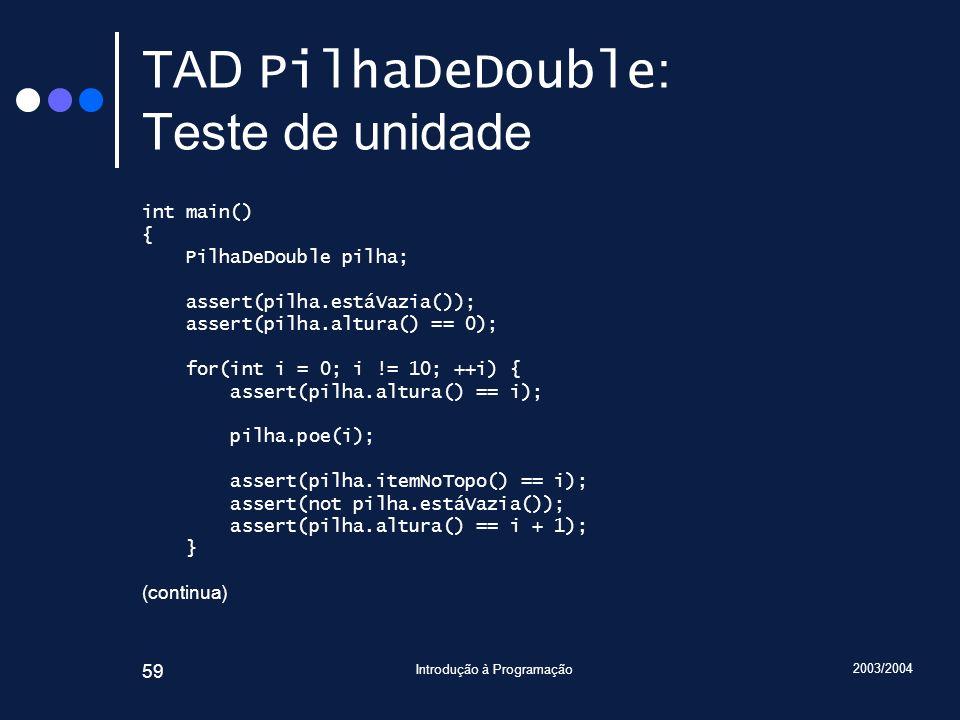TAD PilhaDeDouble: Teste de unidade
