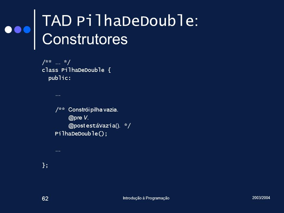 TAD PilhaDeDouble: Construtores