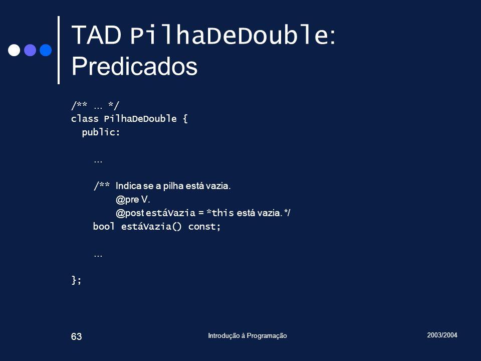 TAD PilhaDeDouble: Predicados