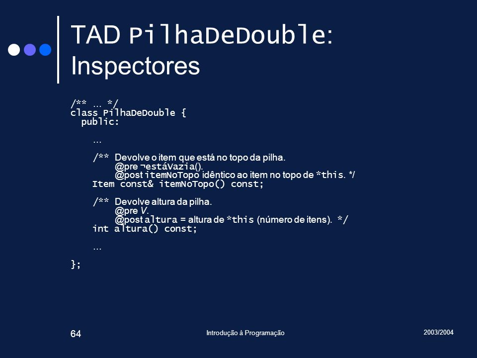 TAD PilhaDeDouble: Inspectores