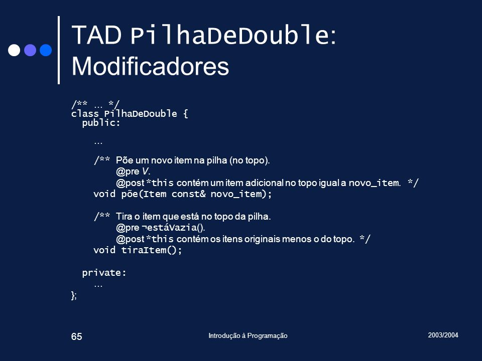 TAD PilhaDeDouble: Modificadores