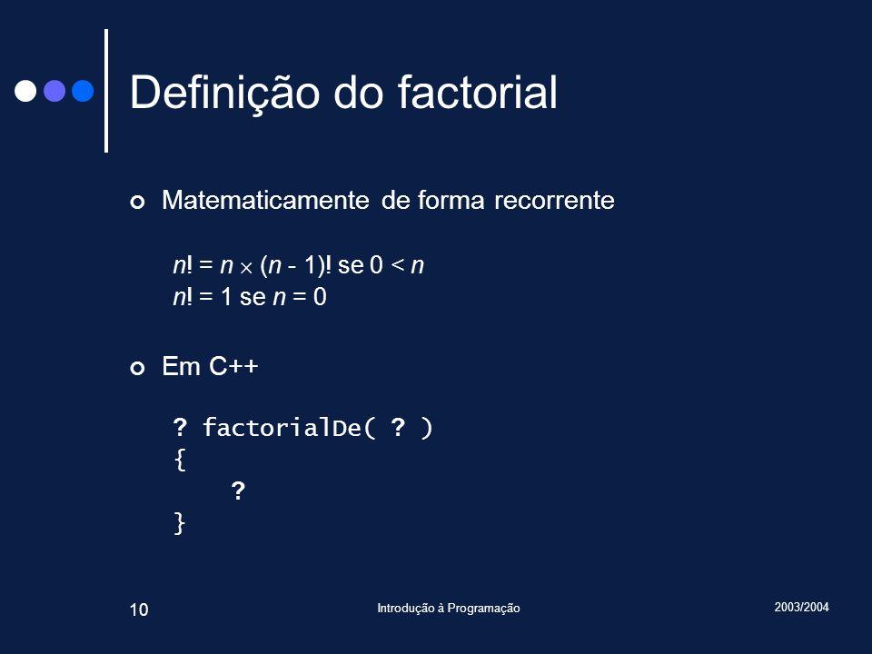 Definição do factorial