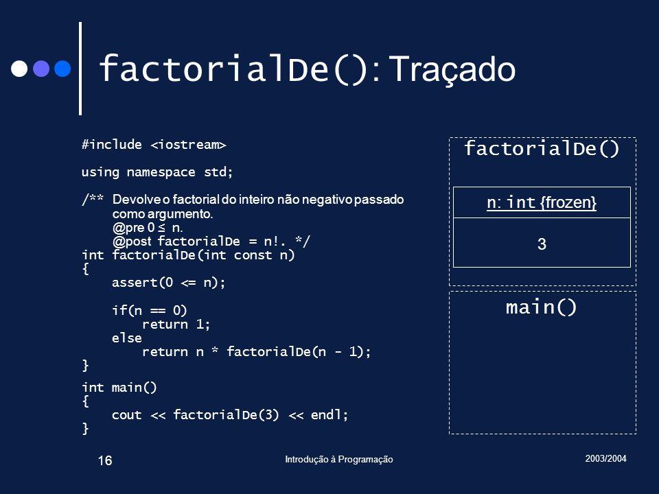 factorialDe(): Traçado