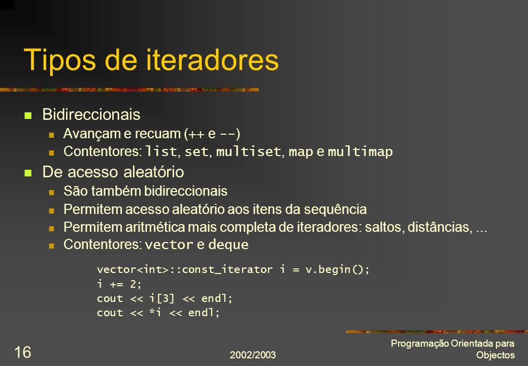 Tipos de iteradores Bidireccionais De acesso aleatório