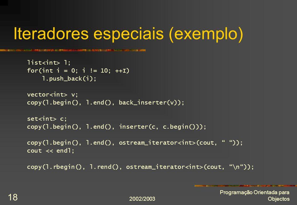 Iteradores especiais (exemplo)
