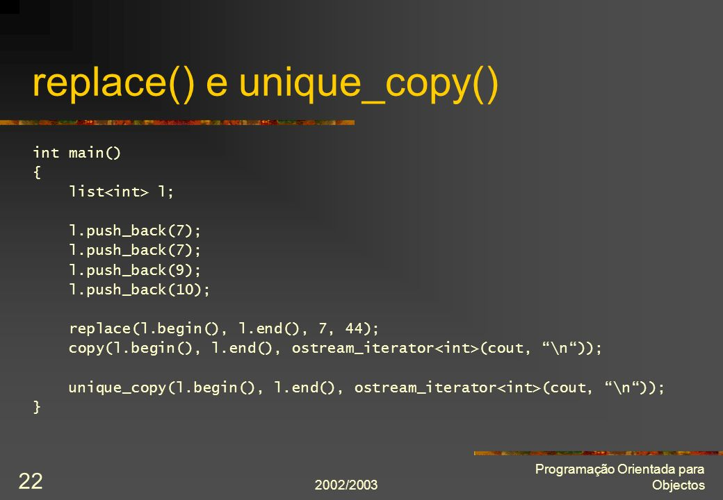 replace() e unique_copy()
