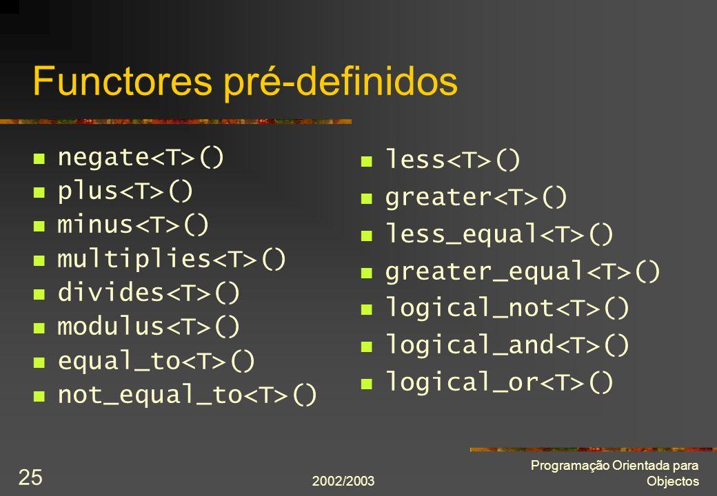 Functores pré-definidos