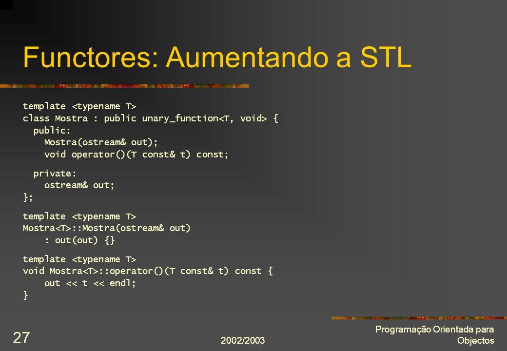 Functores: Aumentando a STL