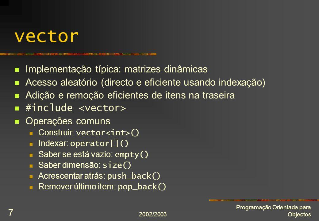 vector Implementação típica: matrizes dinâmicas