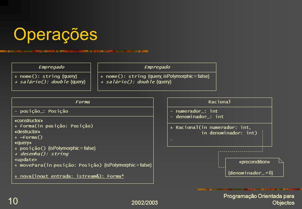 Operações Programação Orientada para Objectos 2002/2003 Empregado