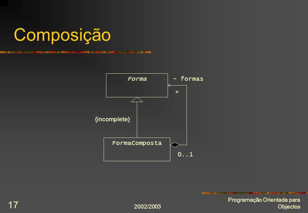 Composição Forma - formas * {incomplete} FormaComposta 0..1