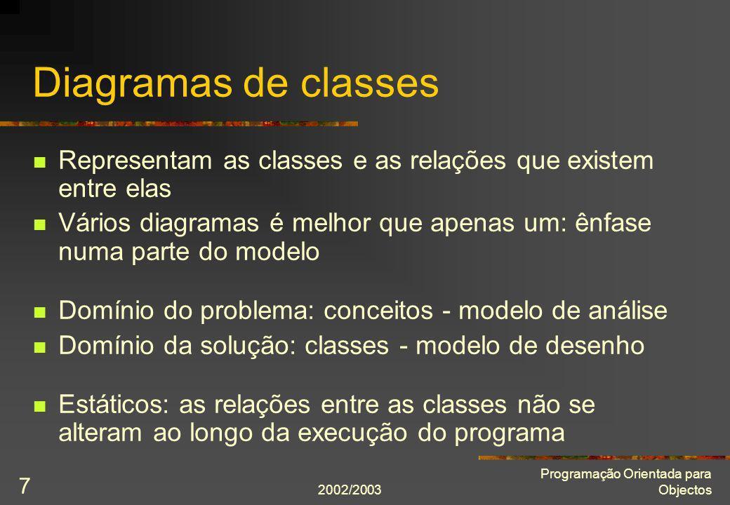 Diagramas de classesRepresentam as classes e as relações que existem entre elas.