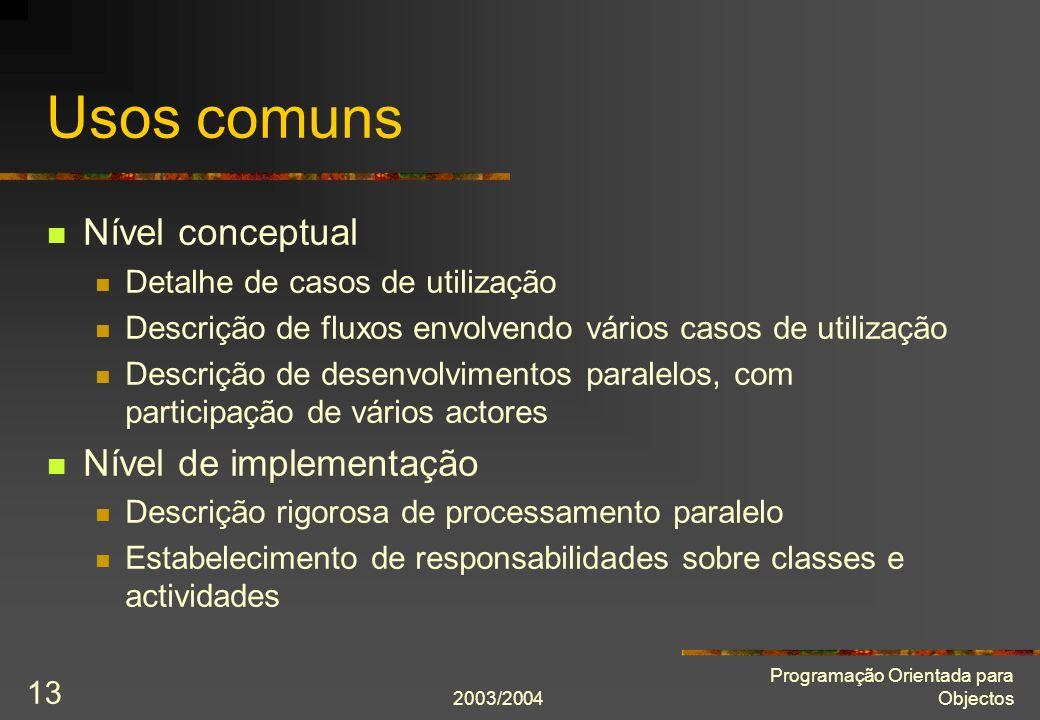 Usos comuns Nível conceptual Nível de implementação
